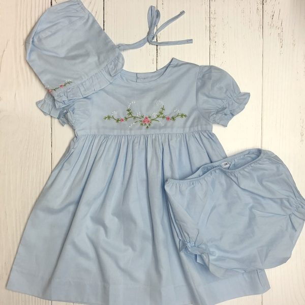 BABY BLUE SMOCKED WITH BONNET AND BLOOMERS