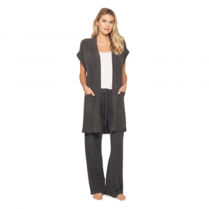 BAREFOOT DREAMS CARBON COZYCHIC ULTRA LITE SLEEVELESS LONG CARDIGAN