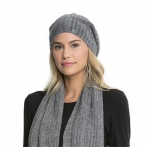 BAREFOOT DREAMS HEATHERED RIBBED BEANIE