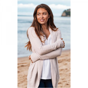BAREFOOT DREAMS TAUPE COZYCHIC LITE CIRCLE CARDIGAN