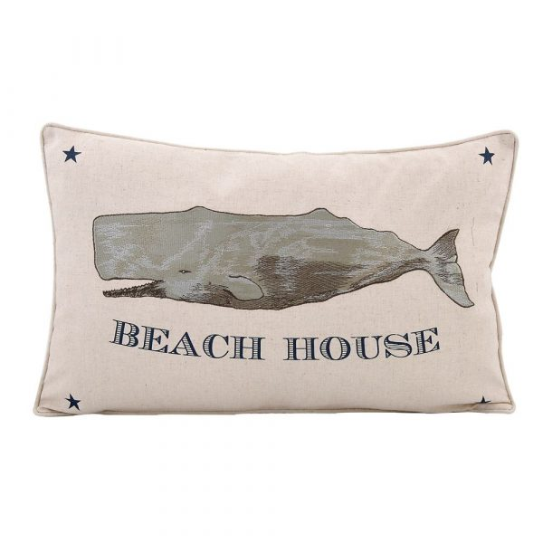 BEACH HOUSE WHALE PILLOW
