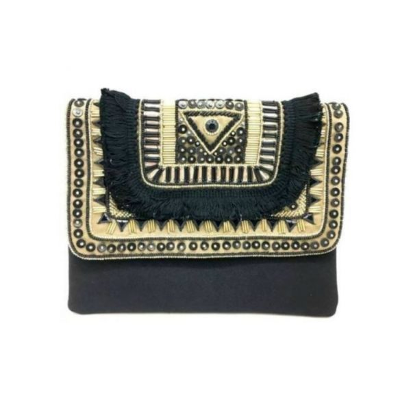 BLACK AND GOLD CROSSBODY CLUTCH