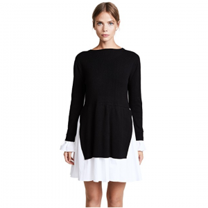 BLACK AND WHITE KNIT DRESS WITH POPLIN COMBO