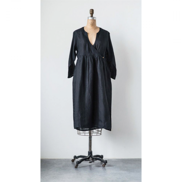 BLACK LINEN JANE DRESS