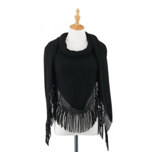 BLACK TRIANGLE KNIT SCARF WITH FRINGE