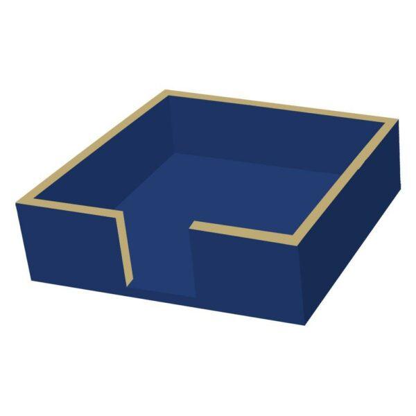 BLUE AND GOLD BEVERAGE NAPKIN HOLDER