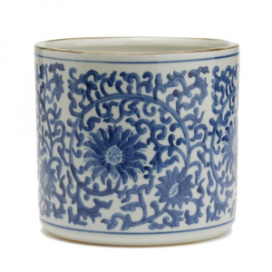 BLUE AND WHITE LOTUS FLOWER VASE