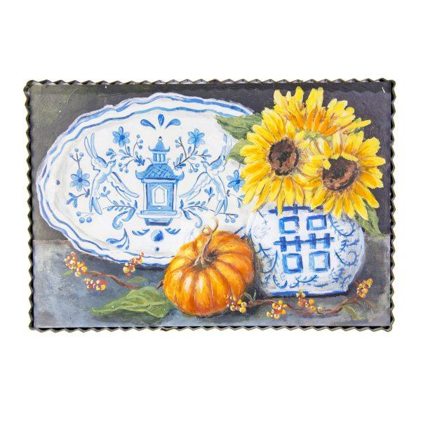 BLUE AND WHITE SUNFLOWER ART