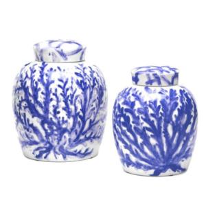BLUE CORAL GINGER JARS