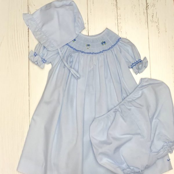 BLUE DRESS WITH BONNET AND BLOOMERS