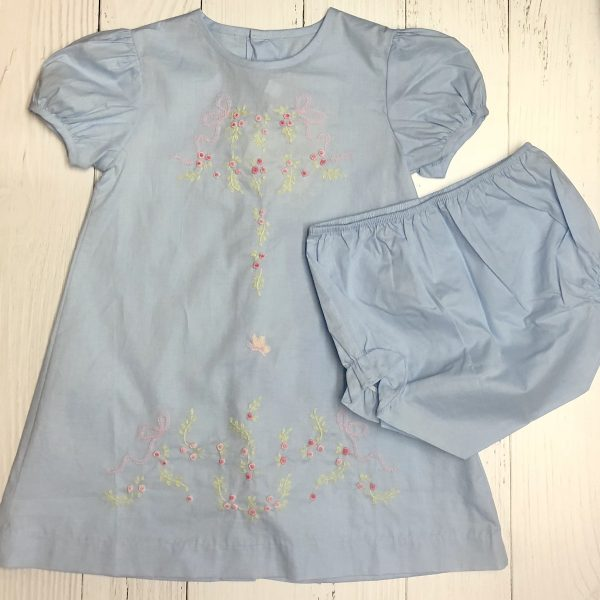 BLUE DRESS WITH ROSEBUDS AND BLOOMERS