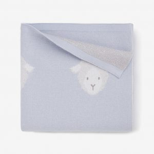 BLUE LAMBIE COTTON KNIT BABY BLANKET