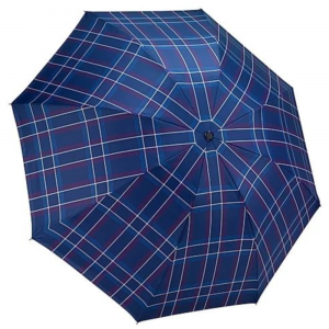 BLUE PLAID REVERSE CLOSE UMBRELLA