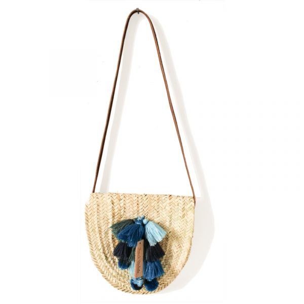 BLUE POM POM WICKER BASKET CROSSBODY