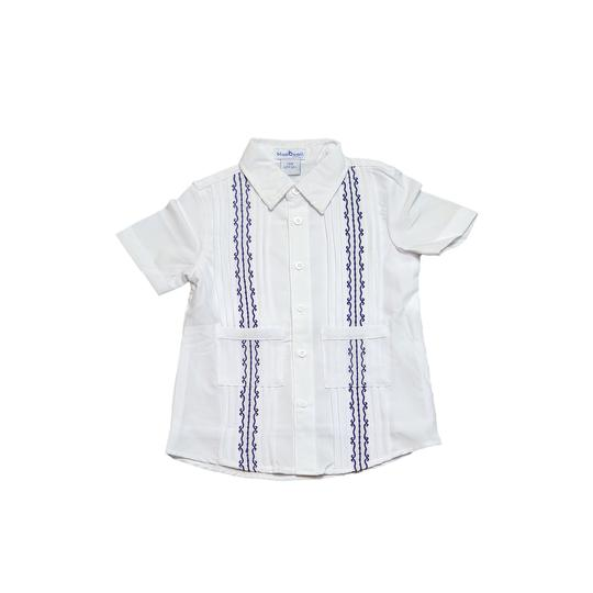 BLUE QUAIL GUAYA WHITE AND NAVY SHIRT