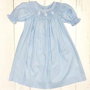 BLUE SMOCKED BUNNY DRESS