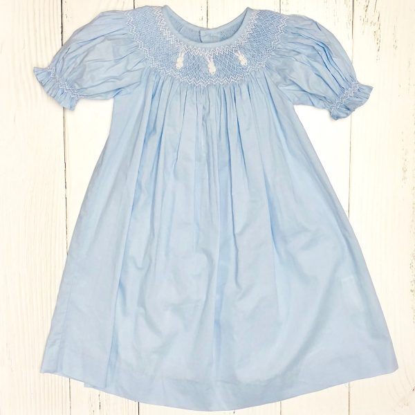 BLUE SMOCKED BUNNY DRESS