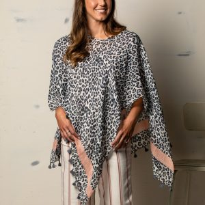 BLUE WITH PINK ANIMAL PRINT PONCHO