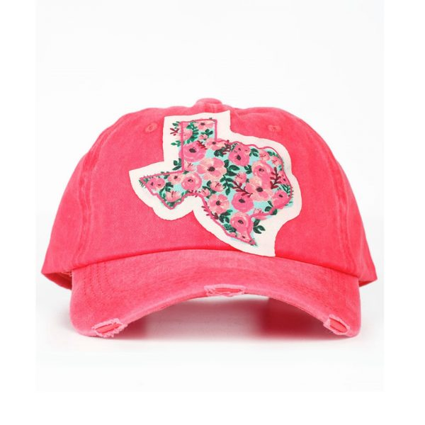 BRIGHT RED TEXAS ROSE PATCH HAT