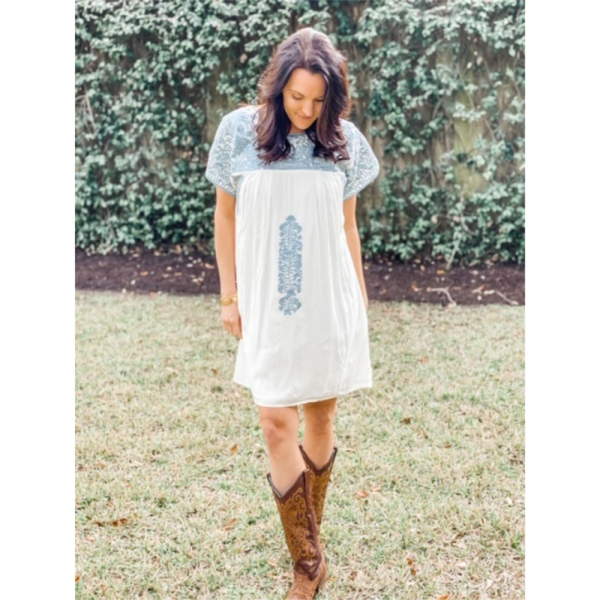 BUDDY LOVE CAROLINA DUST EMBROIDERED DRESS