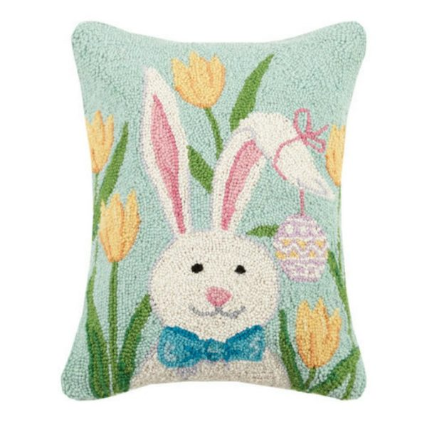 BUNNY WITH TULIPS HOOK PILLOW