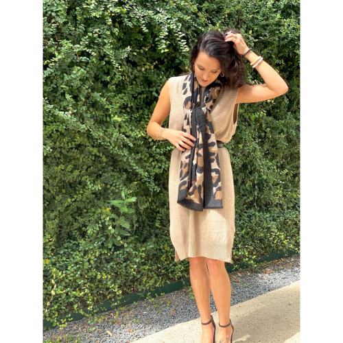 CAMEL KNIT SLEEVELESS DRESS