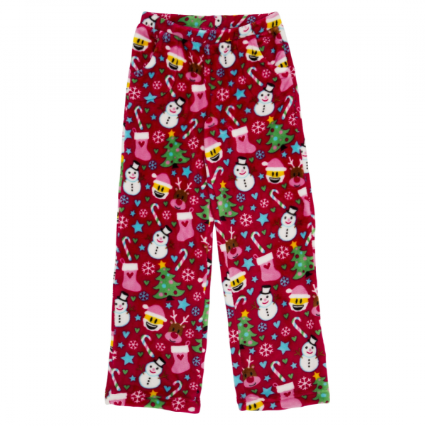 CANDY PINK GIRLS RED EMOJI XMAS PANTS