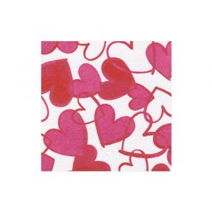 CASPARI PAINTED HEARTS COCKTAIL NAPKINS