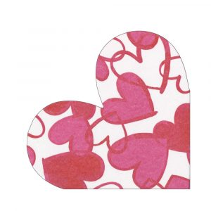 CASPARI PAINTED HEARTS DIE CUT PARTY NAPKINS