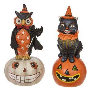 CAT & OWL ON PUMPKIN