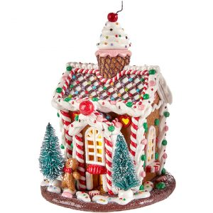 CHERRY LIGHTED GINGERBREAD HOUSE