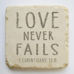 CORINTHIANS 13:8 LARGE STONE BLOCK