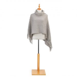 CREAM AND TAUPE COWL NECK PONCHO