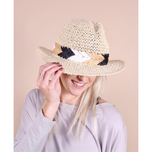 CROWLEY STRAW HAT WITH STITCHED BAND