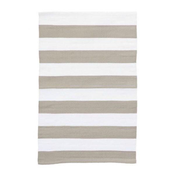 DASH & ALBERT CATAMARAN STRIPE INDOOR/OUTDOOR RUG - PLATINUM/IVORY