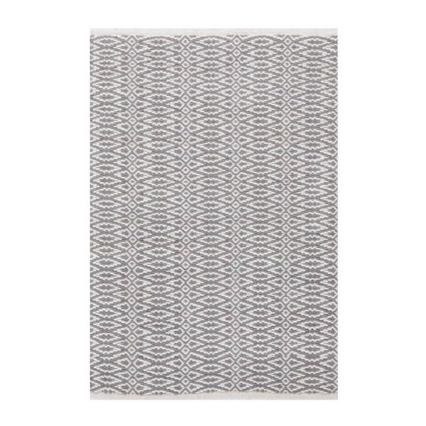 DASH & ALBERT FAIR ISLE COTTON WOVEN RUG - GREY