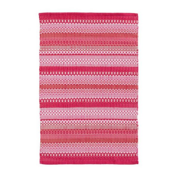 DASH & ALBERT FIESTA STRIPE INDOOR/OUTDOOR RUG - FUCHSIA