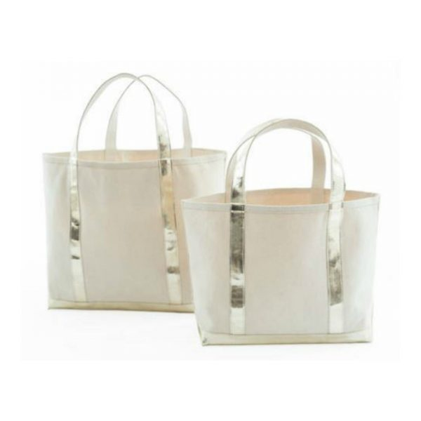 DASH & ALBERT GOLD GLAM CANVAS TOTE - SMALL