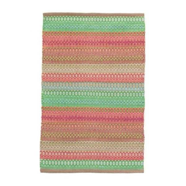 DASH & ALBERT GYPSY STRIPE WOVEN RUG - PINK/GREEN