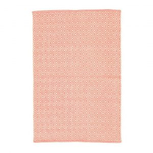 DASH & ALBERT LATTICE WOVEN COTTON RUG - CORAL