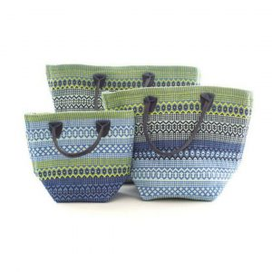 DASH & ALBERT LE FIESTA BLUE AND GREEN STRIPE TOTE