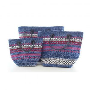 DASH & ALBERT LE FIESTA BLUE AND RED STRIPE TOTE