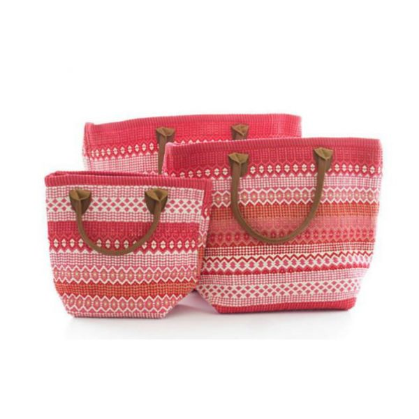DASH & ALBERT LE FIESTA FUSCHIA AND RED STRIPE TOTE