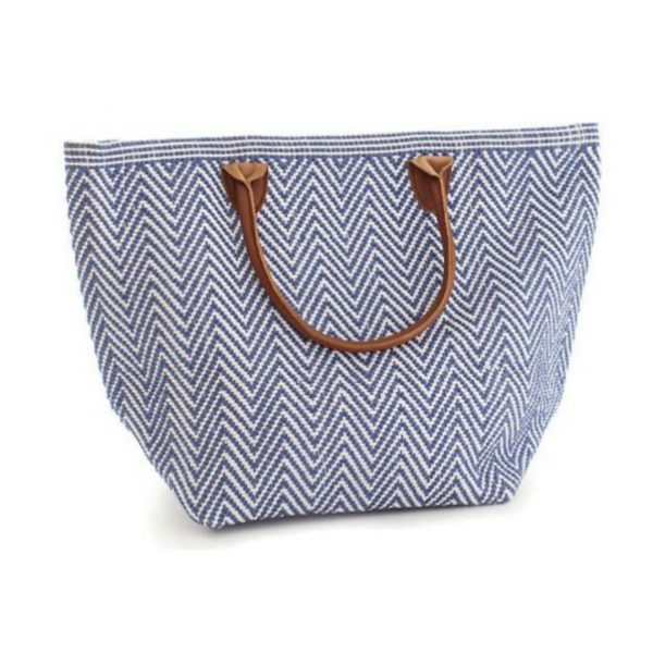DASH & ALBERT LE TOTE NAVY AND IVORY MOYEN TOTE