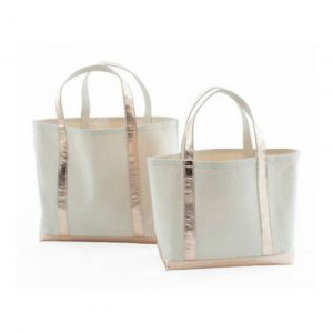 DASH & ALBERT ROSE GOLD GLAM CANVAS TOTE - LARGE