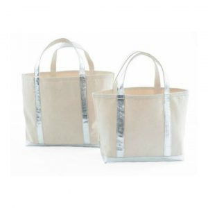 DASH & ALBERT SILVER GLAM CANVAS TOTE - SMALL