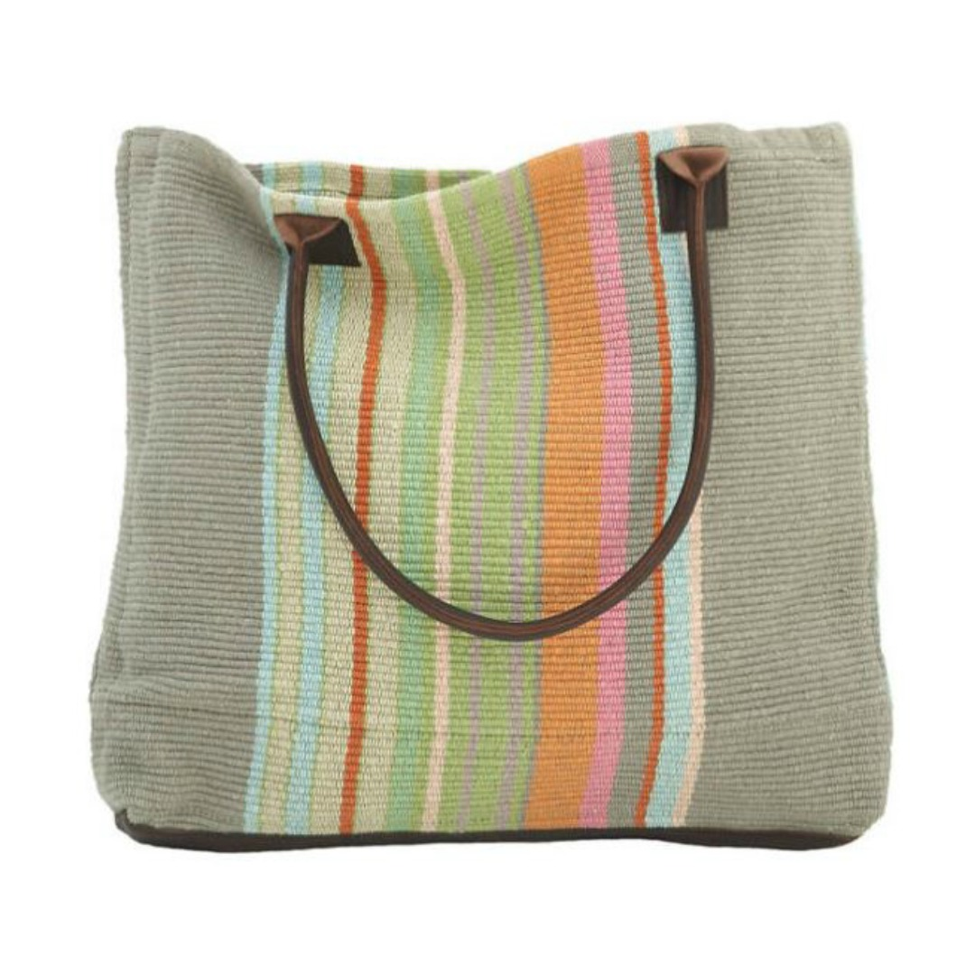 DASH & ALBERT STONE SOUP WOVEN COTTON TOTE
