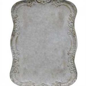 DISTRESSED GREY FINISH TIN TRAY