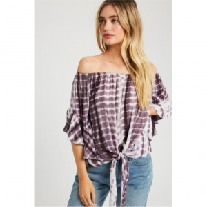 EGGPLANT TIE-DYE OFF THE SHOULDER TOP