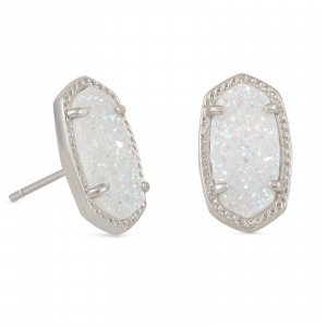 KENDRA SCOTT ELLIE EARRINGS IN RHODIUM